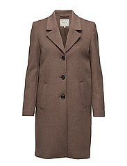 SFSASJA WOOL COAT CAMP H - DEEP TAUPE