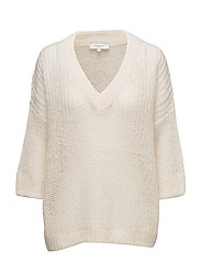 SFJINA 3/4 KNIT V-NECK - WHITE SWAN