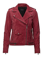 SFLORE SUEDE JACKET CAMP - EARTH RED