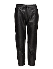 SFCASSIE MW CROP LEATHER PANT - BLACK