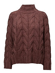 SFINDIA LS KNIT CABLE O-NECK - SYRAH