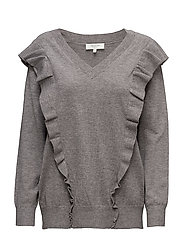SFFRILLA LS V-NECK KNIT - MEDIUM GREY MELANGE
