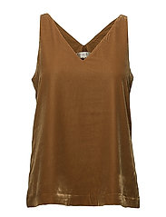 SFAMITA VELVET STRAP TOP - GOLDEN BROWN