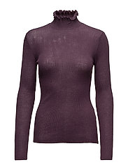 SFCOSTA LS KNIT RIB FRILL HIGHNECK - PLUM PERFECT
