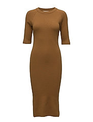 SFINETTA 2/4 KNIT DRESS - GOLDEN BROWN