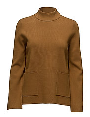 SFINETTA 7/8 HIGHNECK KNIT - GOLDEN BROWN