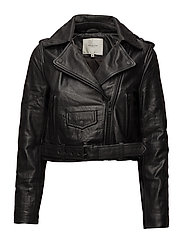 SFBIANCA LEATHER JACKET J - BLACK