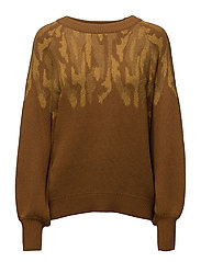 SFDRAMA LS O-NECK KNIT - GOLDEN BROWN
