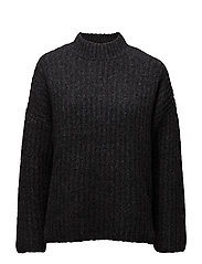 SFMARINA LS HIGHNECK KNIT J - DARK GREY MELANGE