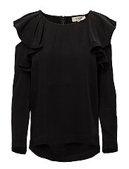 SFKASSIA COLD SHOULDER LS TOP - BLACK