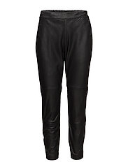 SFSIRI MW CROPPED LEATHER PANT J - BLACK