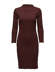 SFHAMINA 3/4 T-NECK DRESS - SYRAH