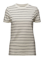 SFMY PERFECT SS TEE - THIN STRIPE NOOS - SNOW WHITE