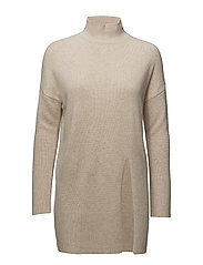 SFEVE CASHMERE LS KNIT LONG HIGHNECK EX - OATMEAL