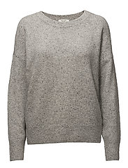 SFNEPSIE LS KNIT WIDE O-NECK J - LIGHT GREY MELANGE