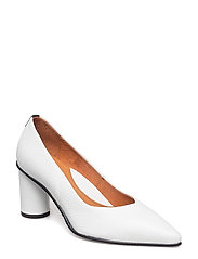 SLFALEX LEATHER ROUND HIGH HEEL B - WHITE