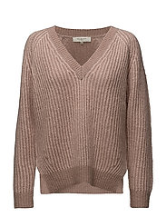 SFWILLA LS KNIT V-NECK - SEPIA ROSE