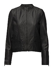 SLFHANNAH LEATHER JACKET NOOS - BLACK