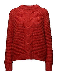 SFAYDA LS KNIT O-NECK EX - MARS RED