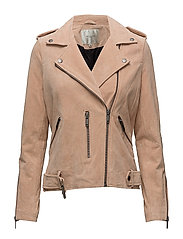 SFSANELLA LEATHER JACKET APRICOT CAMP - APRICOT ICE