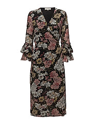 SFCYNTHIA LS WRAP DRESS EX - BLACK
