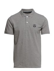 Aro ss embroidery polo T - Light Grey Melange
