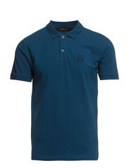 Aro ss embroidery polo T - Majolica Blue