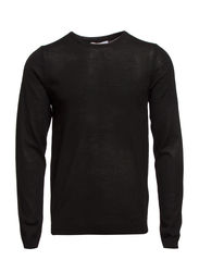 Myron deep crew neck T - Black