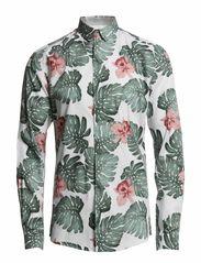 Hawaiian Leaf shirt ls s ID - White