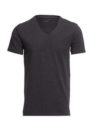 Pima drill ss deep v-neck NOOS ID - Dark Grey Melange