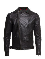 Motard Leather Jacket IX - Black