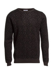 Brushed leopard crew neck IDX - Black