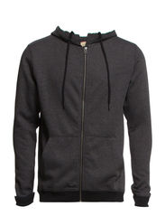 Hank contrast zip hood sweat STS I - Dark Grey Melange