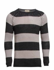Tube yarn stripe crew neck I - Black