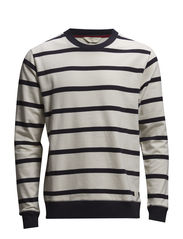 SHStriped crew neck sweat H - Bone White