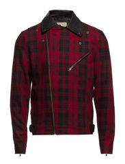 Creed Wool Leather Jacket IX - Biking Red