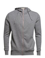 SHBecks zip hood sweat IX - Light Grey Melange