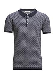 SHJerry pattern knitted polo IDX - Navy Blazer