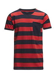 SHPima dave stripe ss o-neck HX - Aurora Red