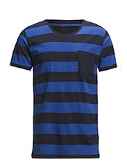 SHPima dave stripe ss o-neck HX - Olympian Blue