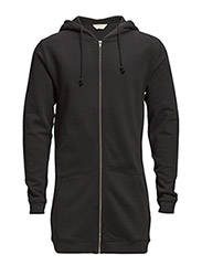 SHBlak long zip hood sweat IX - Black