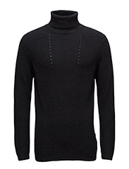 SHDFELTON ROLL NECK - DARK GREY MELANGE
