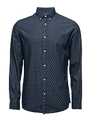 SHHONE-NOLANPRINT SHIRT LS - MEDIUM BLUE DENIM