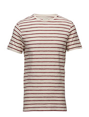 SHHKRIS STRIPE SS O-NECK TEE NOOS - APPLE BUTTER