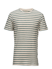 SHHKRIS STRIPE SS O-NECK TEE NOOS - SEA PINE