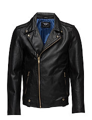 AB NEW BIKER GOLD LEATHER JACKET - BLACK