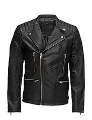 SHNJONES BIKER LEATHER JACKET - BLACK