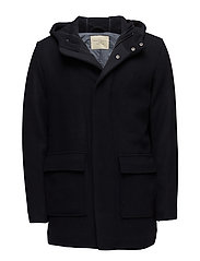 SHHROLF HOOD WOOL COAT - DARK NAVY