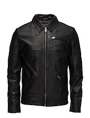 SHNMAX CLASSIC LEATHER JACKET - BLACK