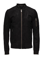 SHNMICK SUEDE BOMBER STS - BLACK